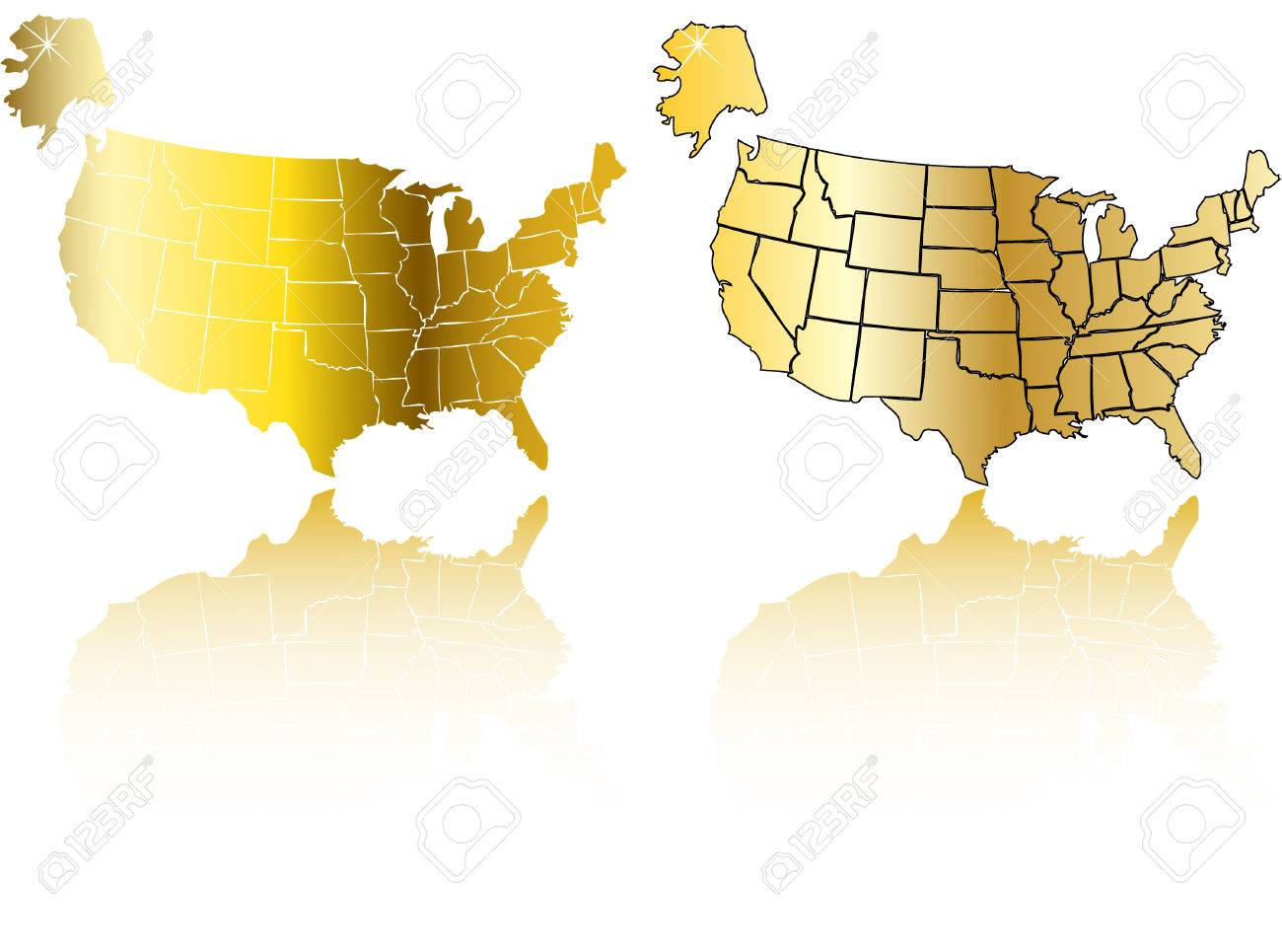 The Vector Gold Usa Map Set Royalty Free Cliparts Vectors And - Us gold map