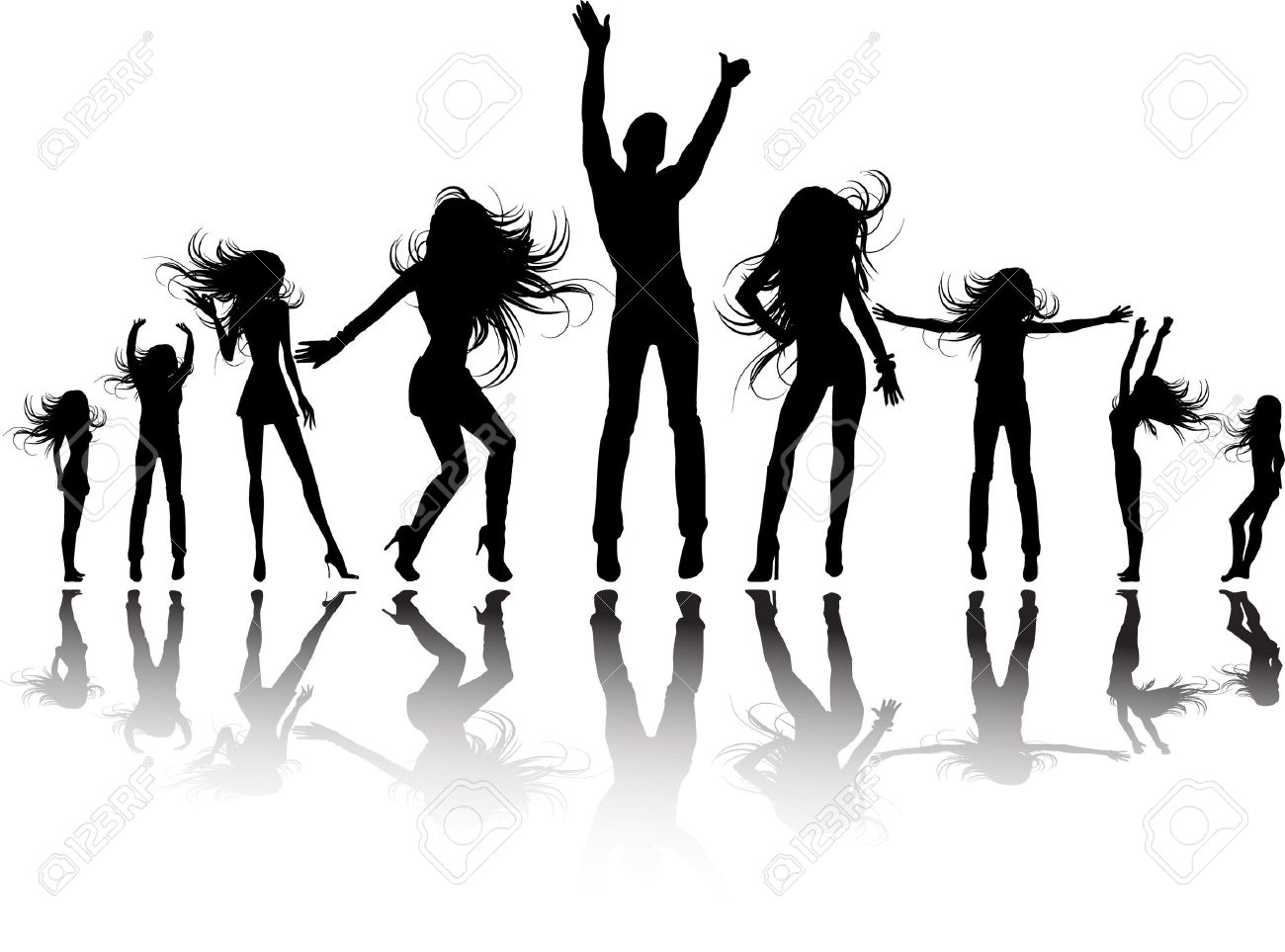 Party Silhouette Vector Free The Vector Party Silhouette