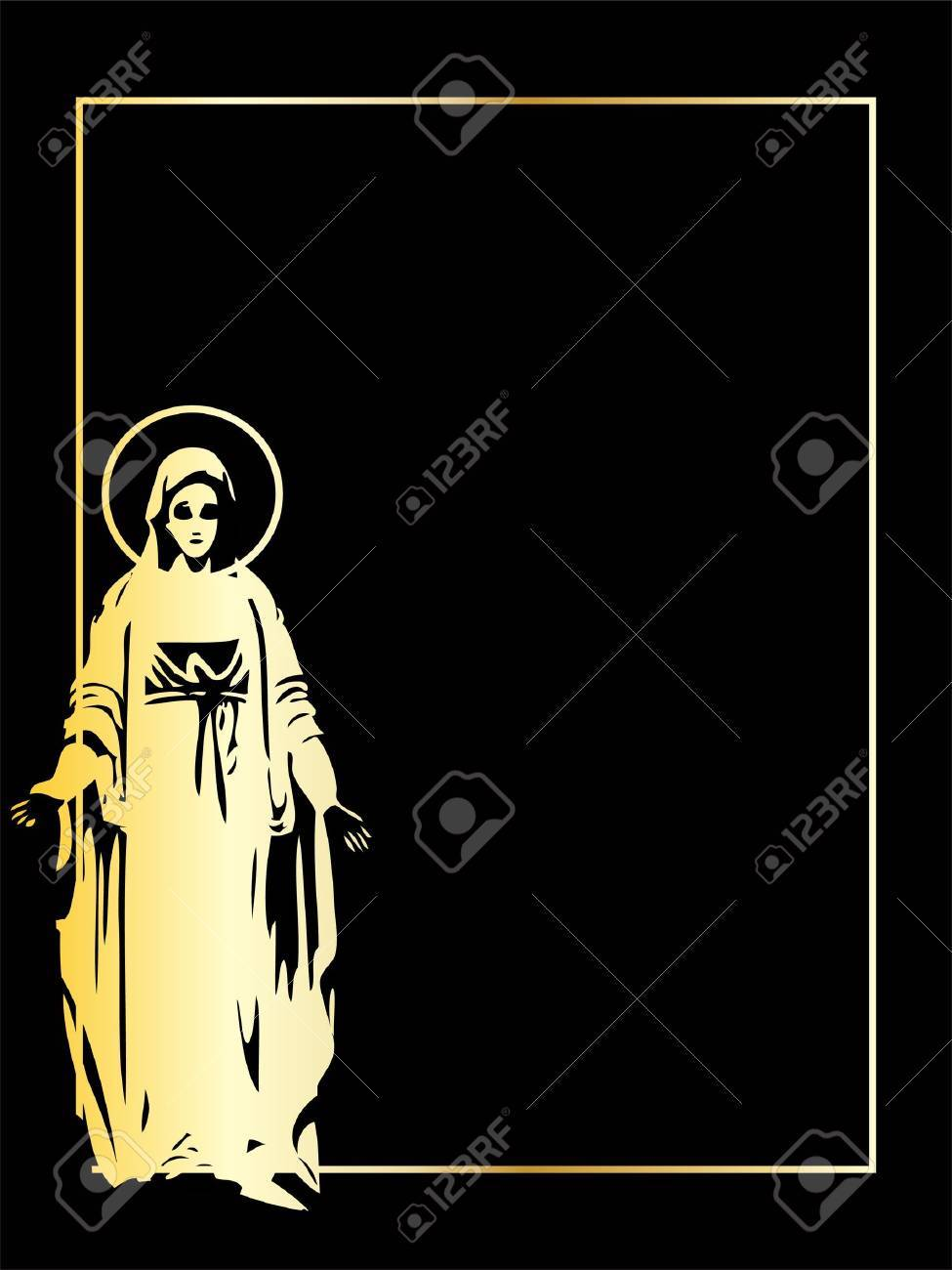the gold vector Virgin Mary statue Stock Vector - 7143911