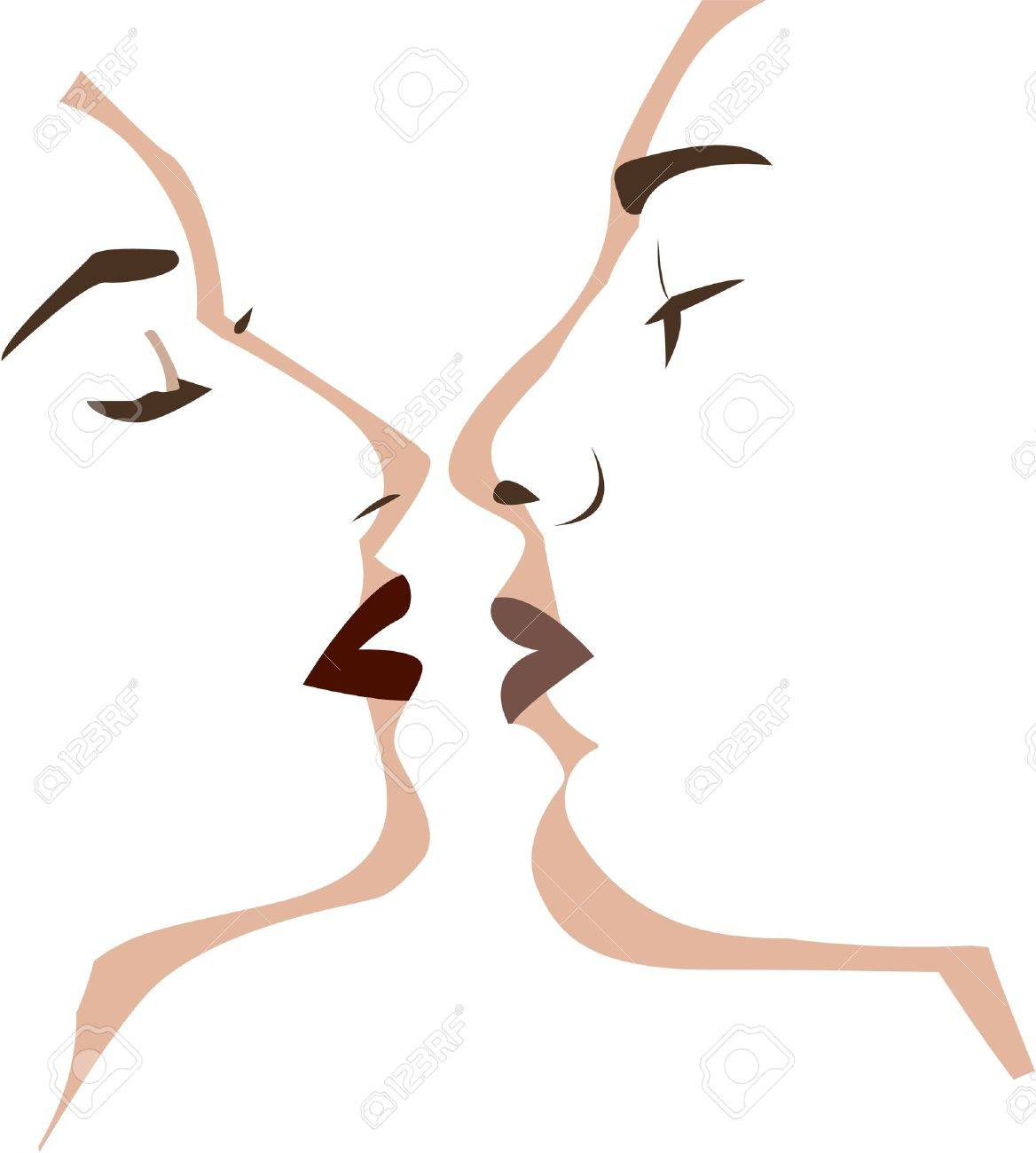 the vector two lovers kissng Stock Vector - 8811368