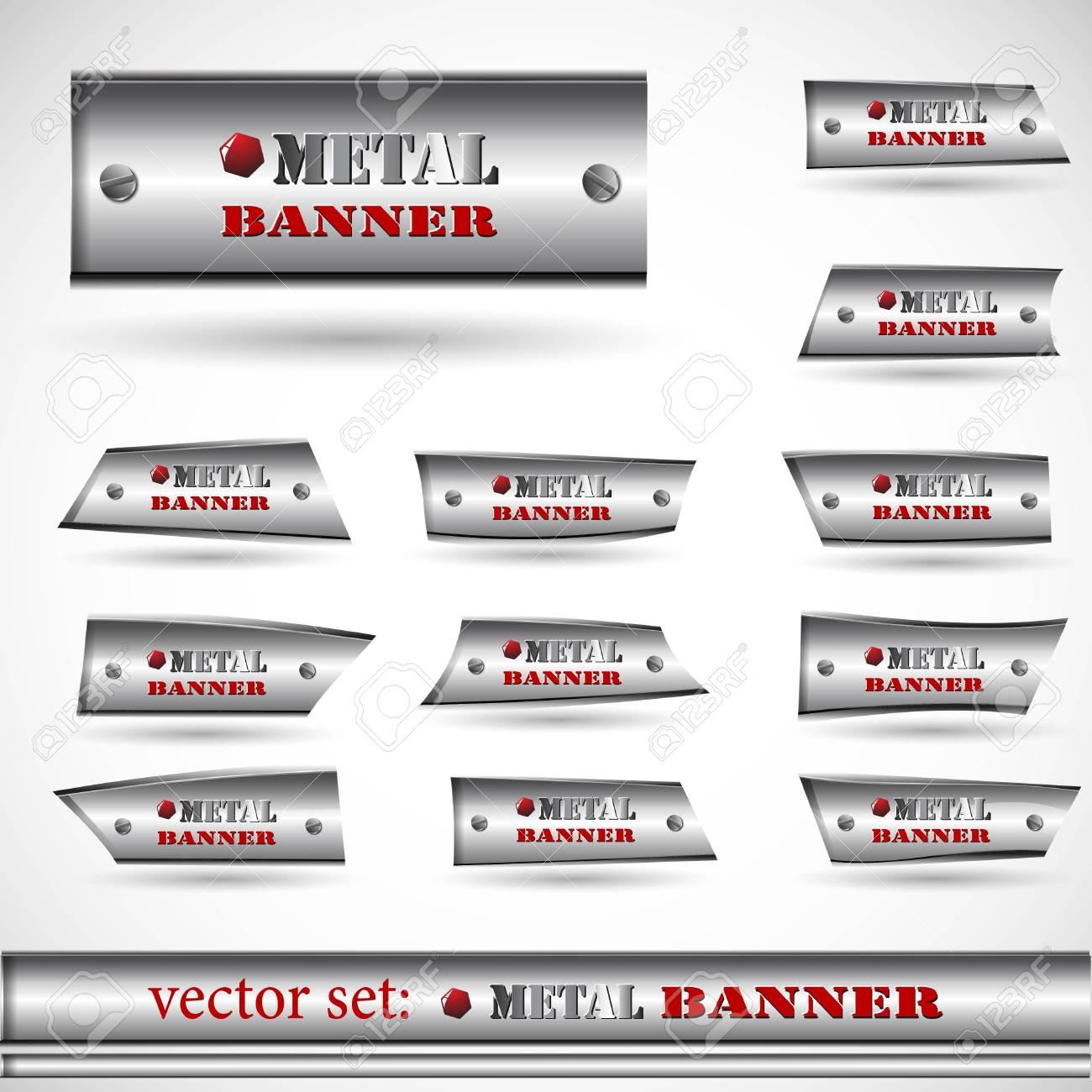 the abstract metallic banner set Stock Vector - 8918668
