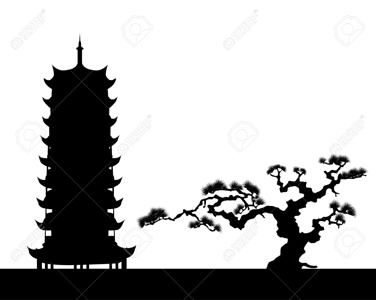 the Japanese landscape silhouette Stock Vector - 10476003