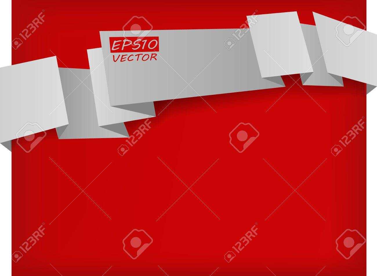 the vector abstract white origami banner on red background Stock Vector - 12201883
