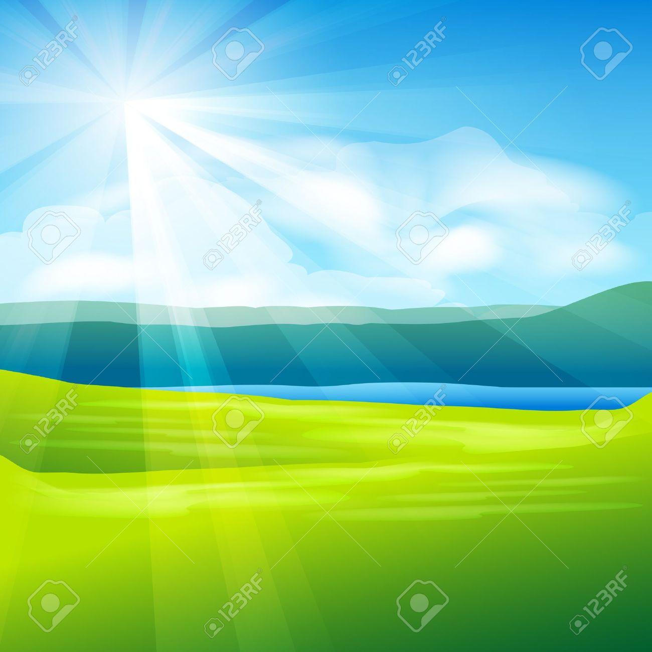 abstract summer landscape background - vector illustration Stock Vector - 12201911