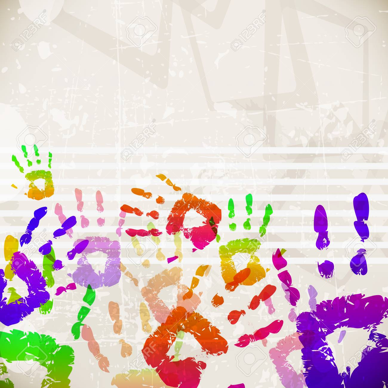 retro abstract design colorful handprint template vector