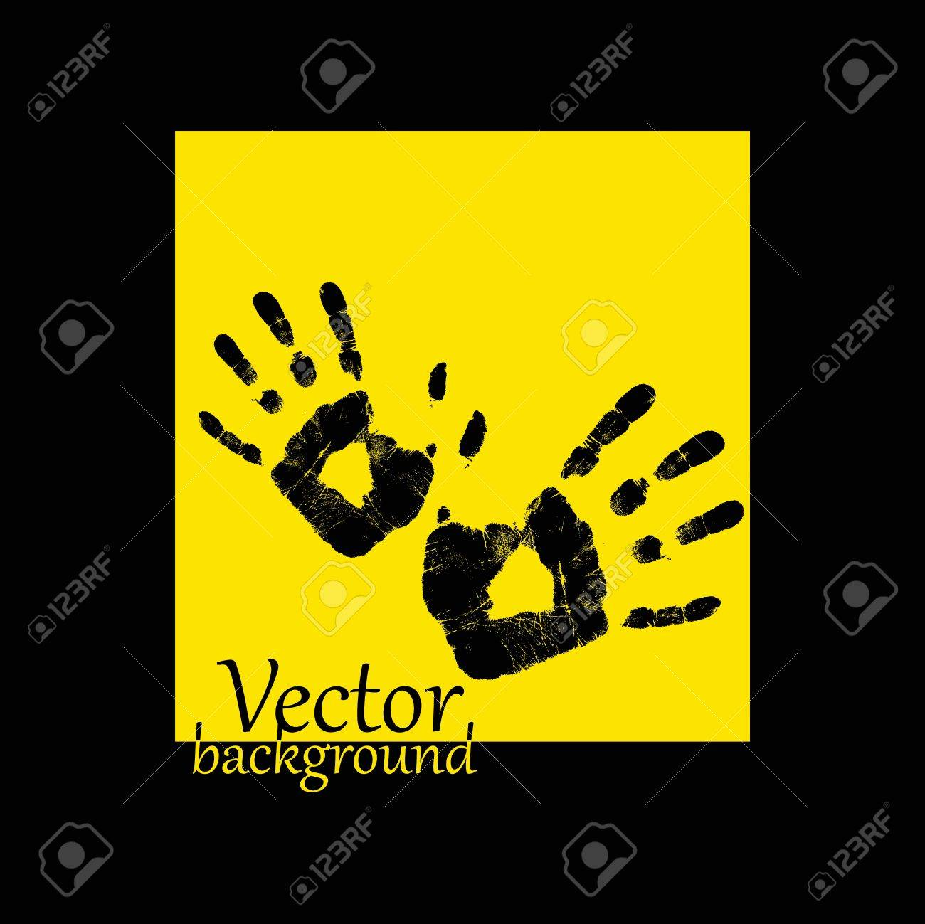 Abstract hand print on a yellow background - vector illustration Stock Vector - 14030823