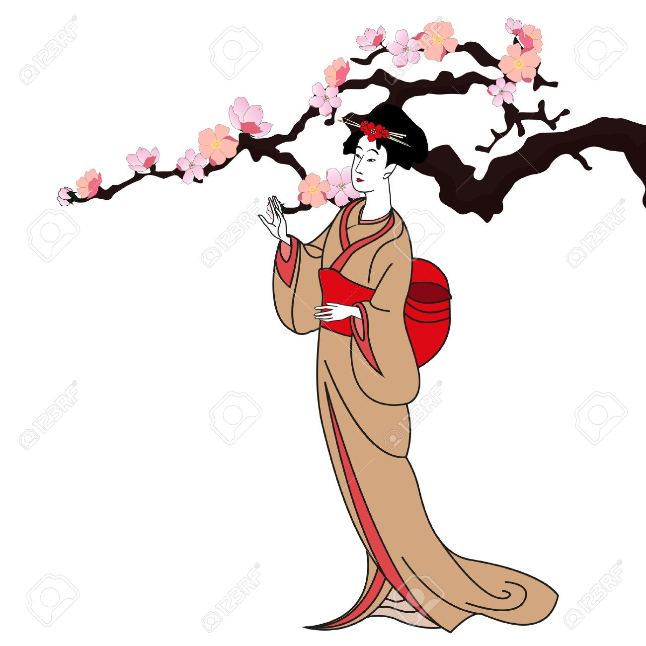 vector background with a japan girl - vector illustration Stock Vector - 14030717