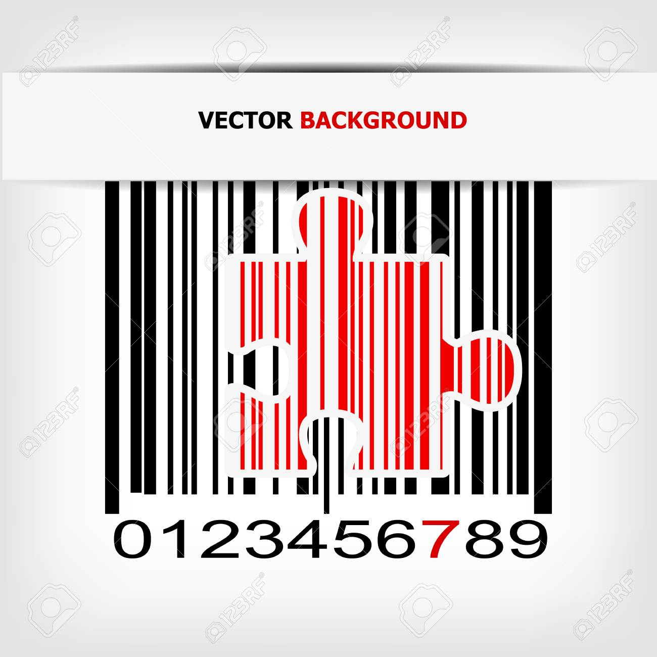Barcode image with red strip - vector illustration Stock Vector - 17348079