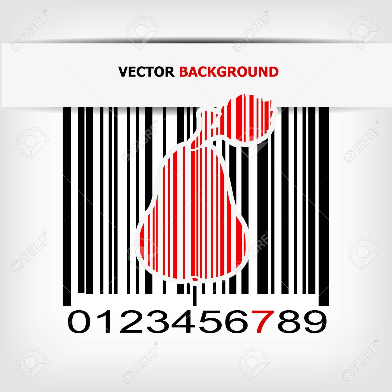 Bar code image with red strip illustration Stock Vector - 19008676