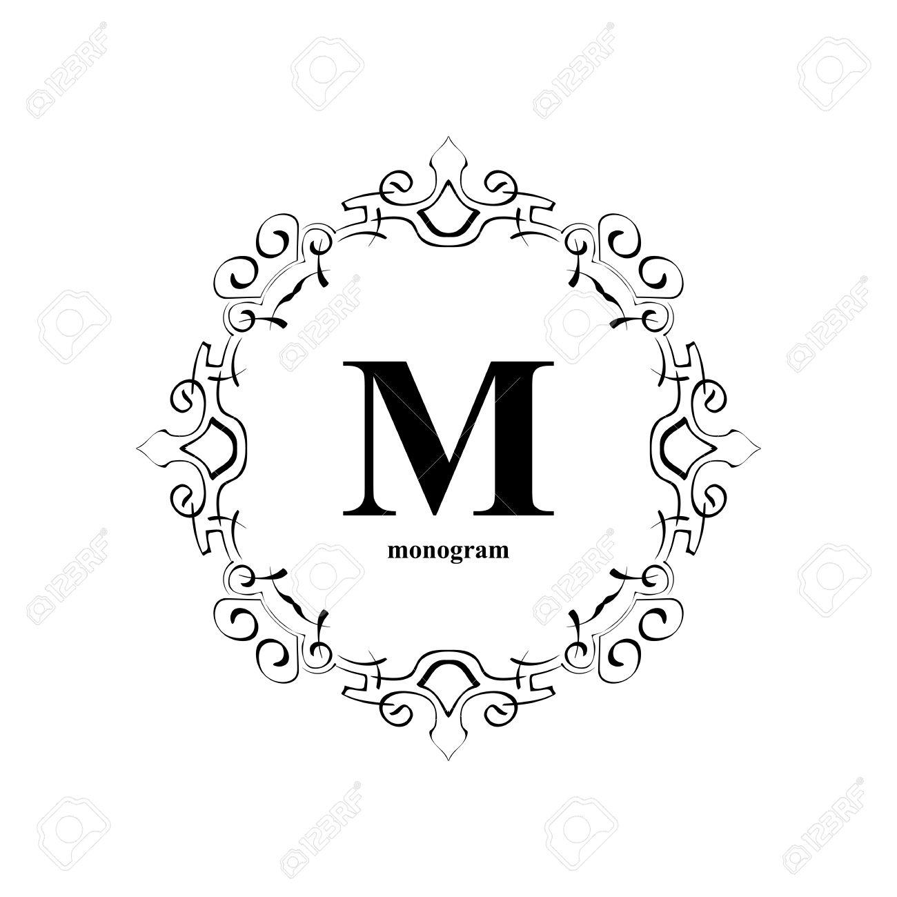Plantilla De Diseño Del Monograma Elegante. Lujo Ornamento Del Marco ...