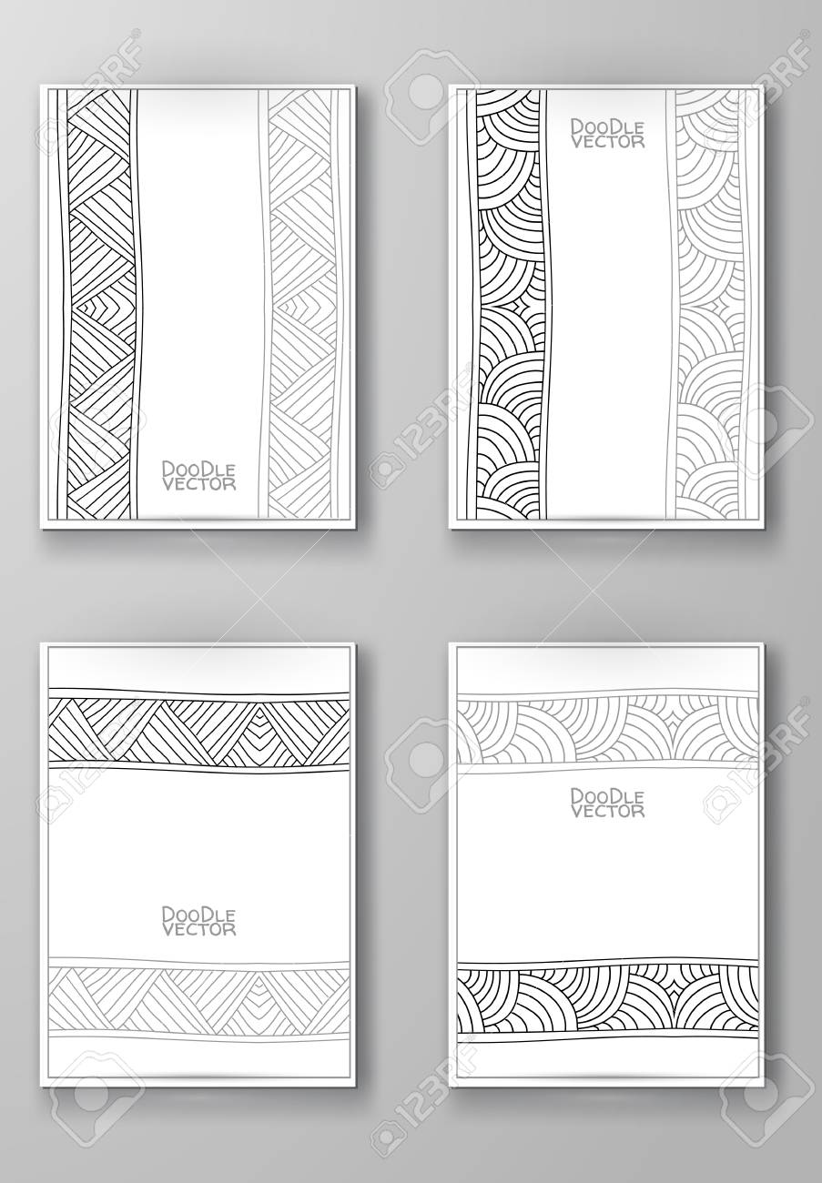 Business Design Templates. Brochure With Hand Drawn Doodle Border ...