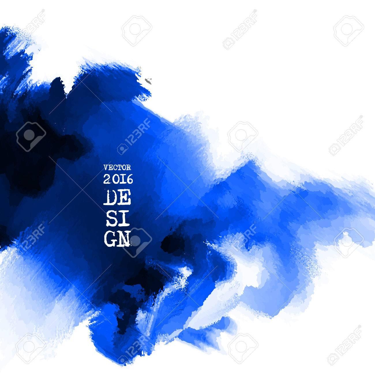 8e483a635fe Banque d images - Résumé de fond élégant peinture d encre bleue. tache bleu  isolé sur carré blanc. bannière aquarelle grunge. La peinture. Fond d écran  avec ...