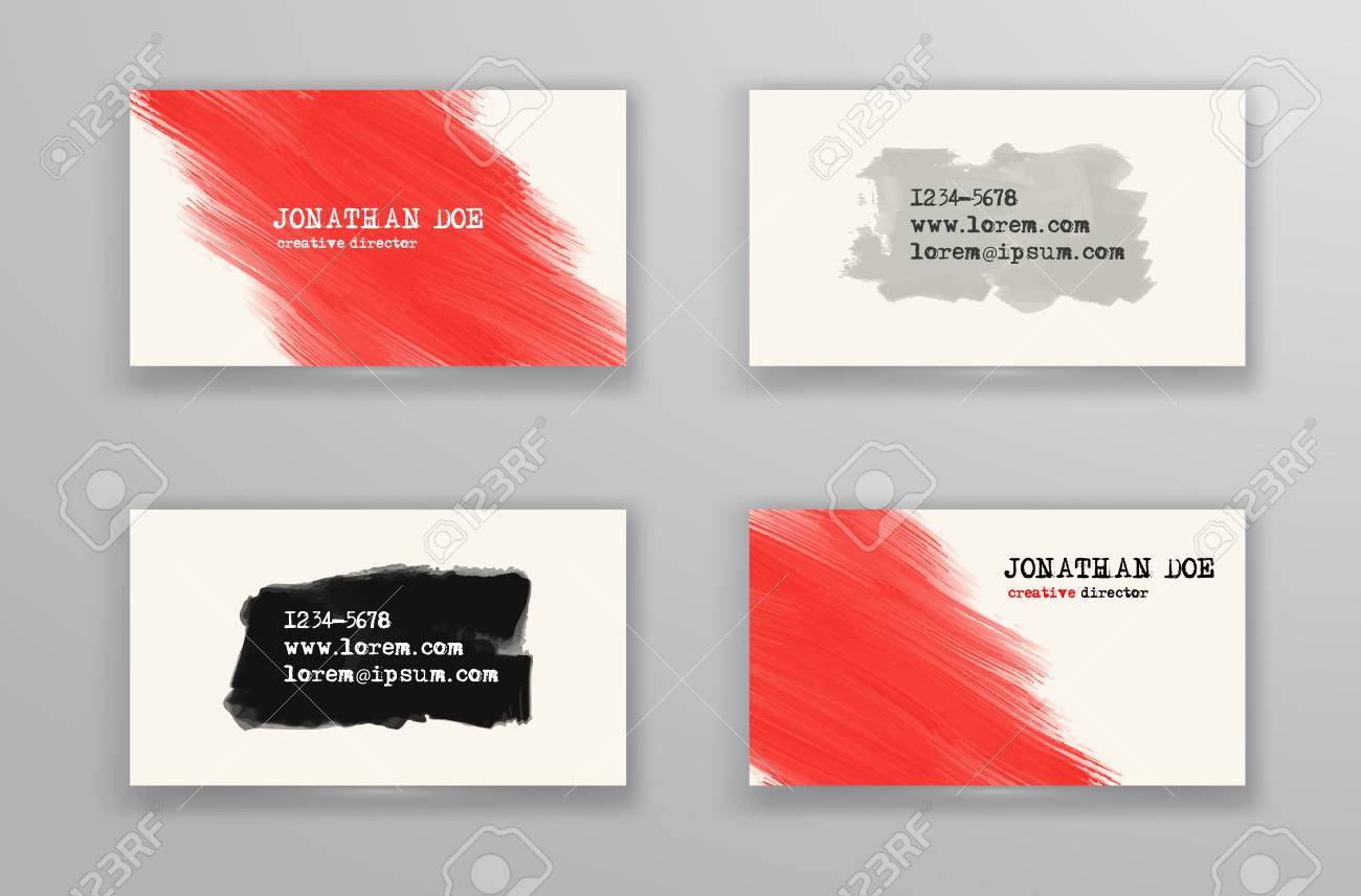 Creative business card templates with minimalistic design abstract creative business card templates with minimalistic design abstract red and black ink brush strokes fbccfo Images
