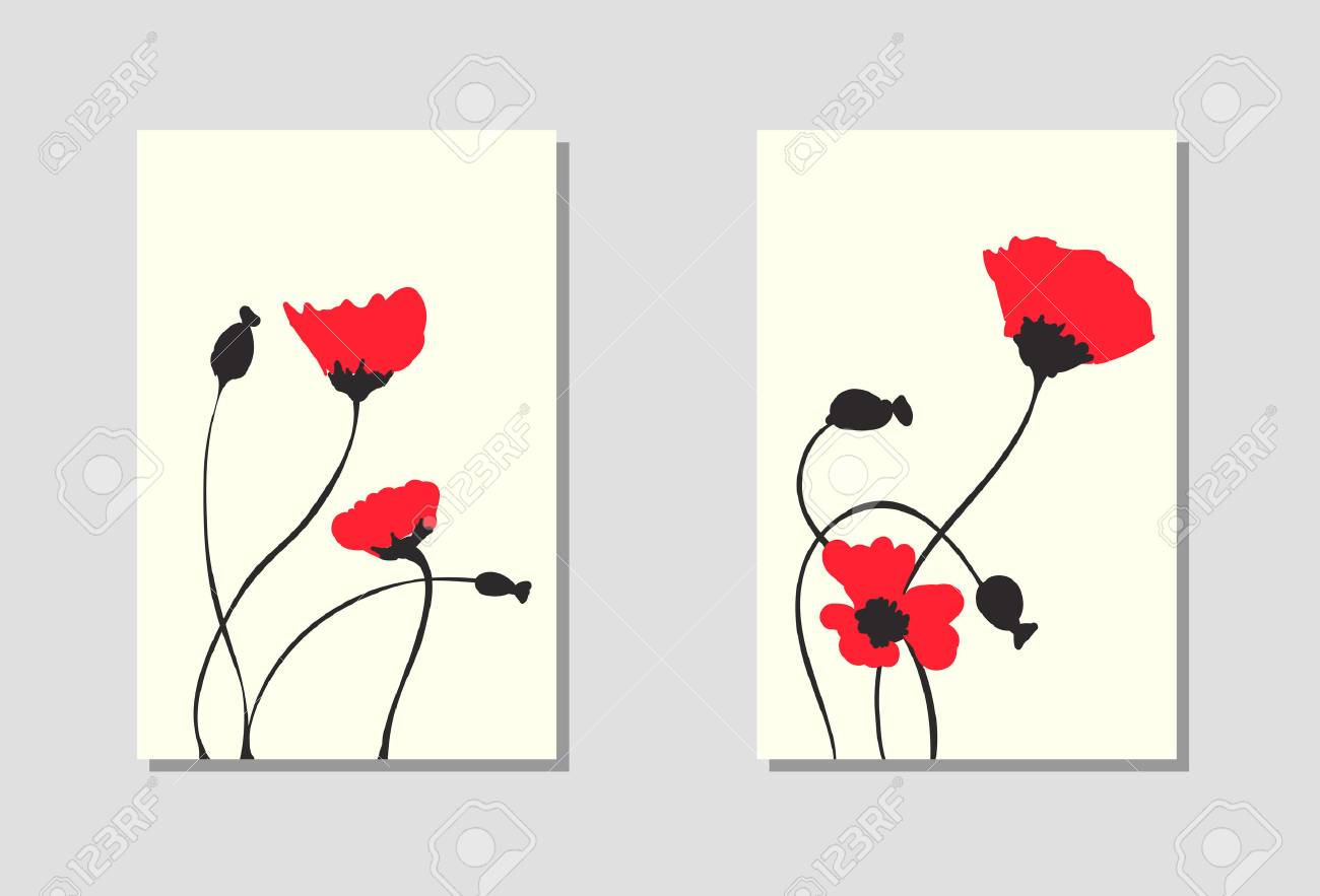 Vibrant floral vertical banners of poppy flowers and blossoms isolated on white background. Wallpaper with empty space for your text. Red flower design. Vector illustration. - 61194122