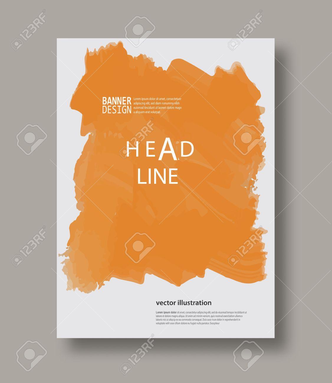 Orange Abstrakte Design. Tintenfarbe Auf Broschüre, Farbelement Auf ...