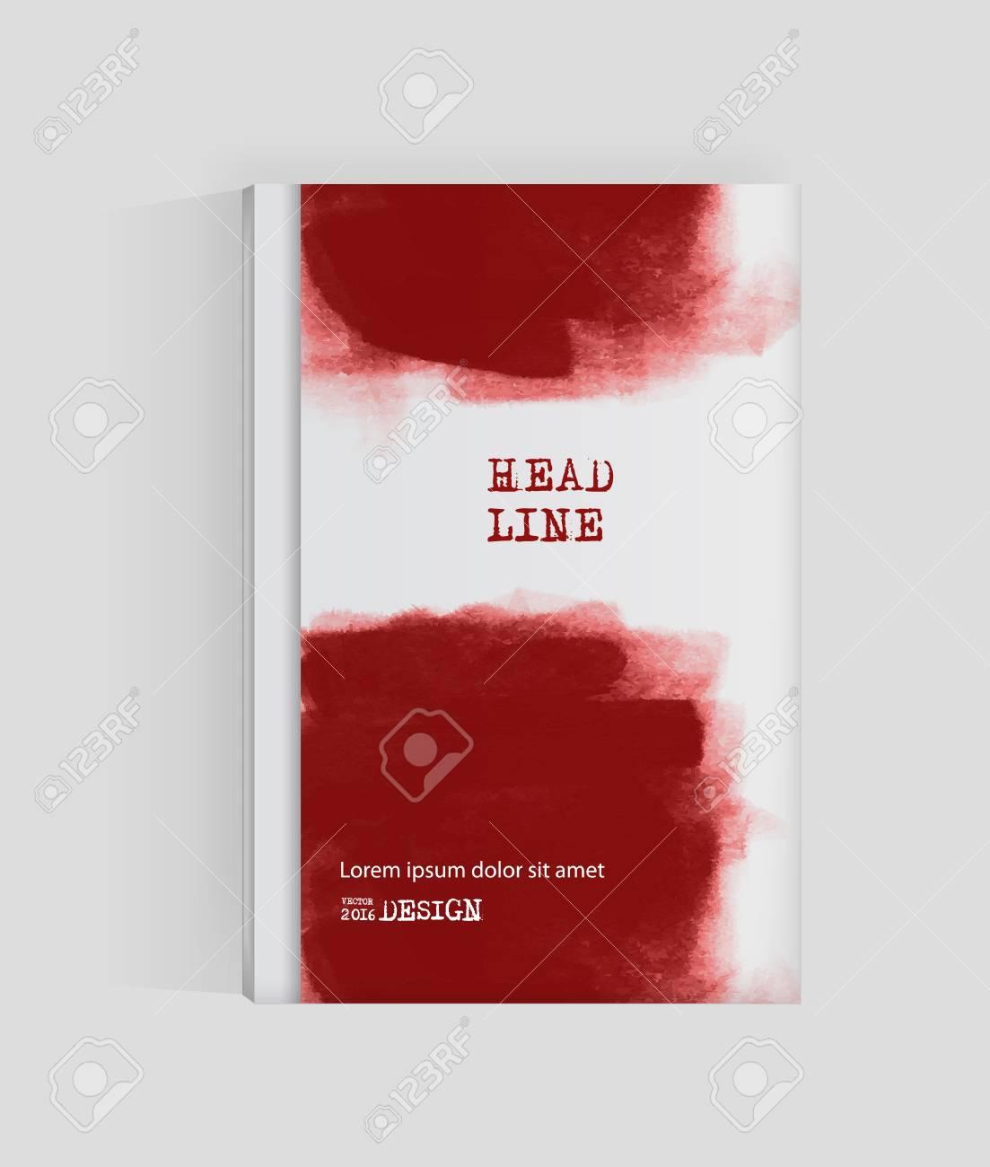 Red Abstrakten Design. Ink Farbe Auf Broschüre, Blut Element ...