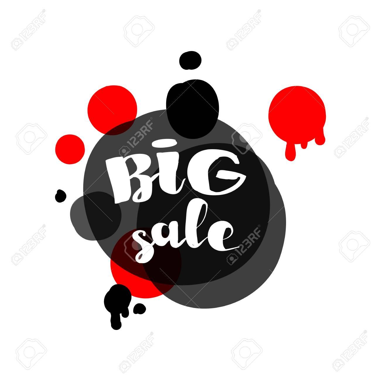 new concept 6b80a 1e9a4 Gli adesivi di vendita di grande disegno rosso e nero del cerchio  designano. Illustrazioni vettoriali per lo shopping online, promozioni di  prodotti, ...