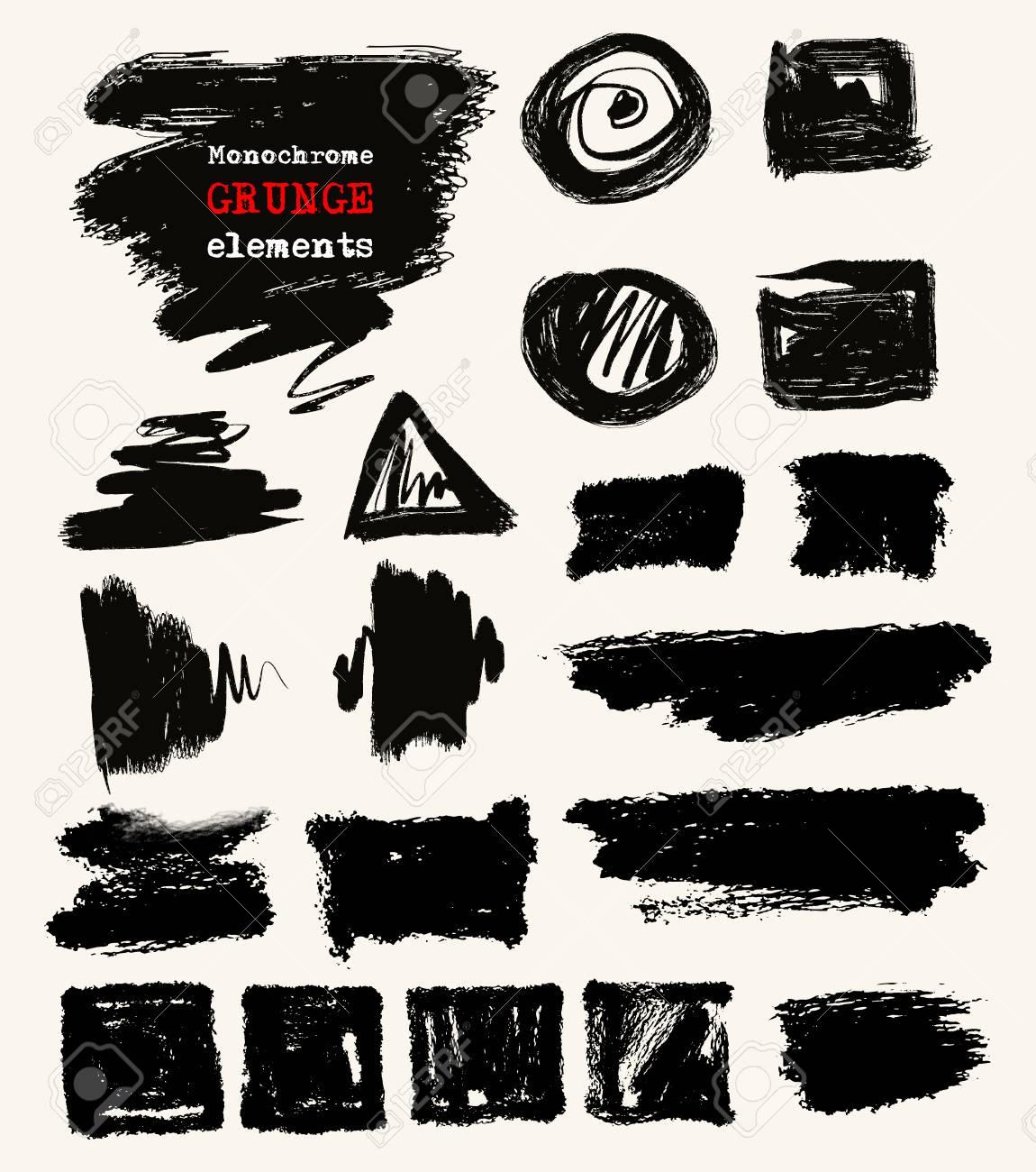 Vector set of black brush strokes  Grunge isolated elements