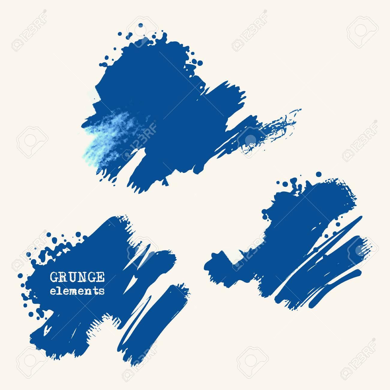Vector set of blue brush strokes  Grunge isolated elements  Smoke