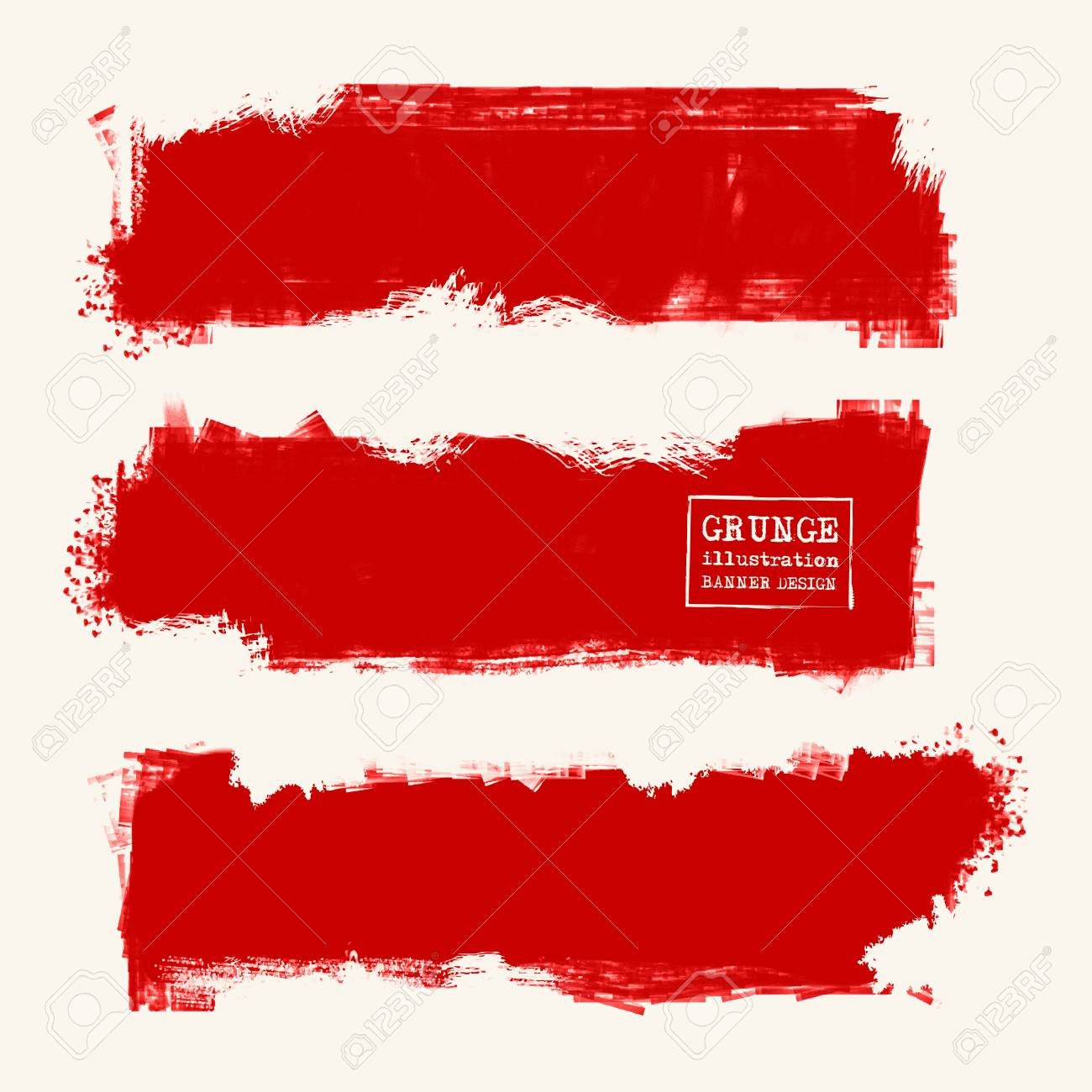 Vector set of red brush strokes  Grunge isolated elements  Smoke