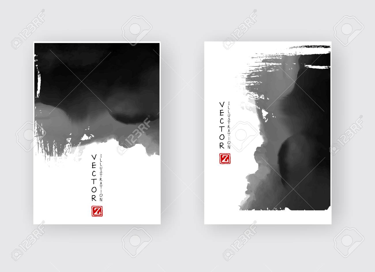 Elegant Brochure Template Design With Ink Brush Elements Abstract