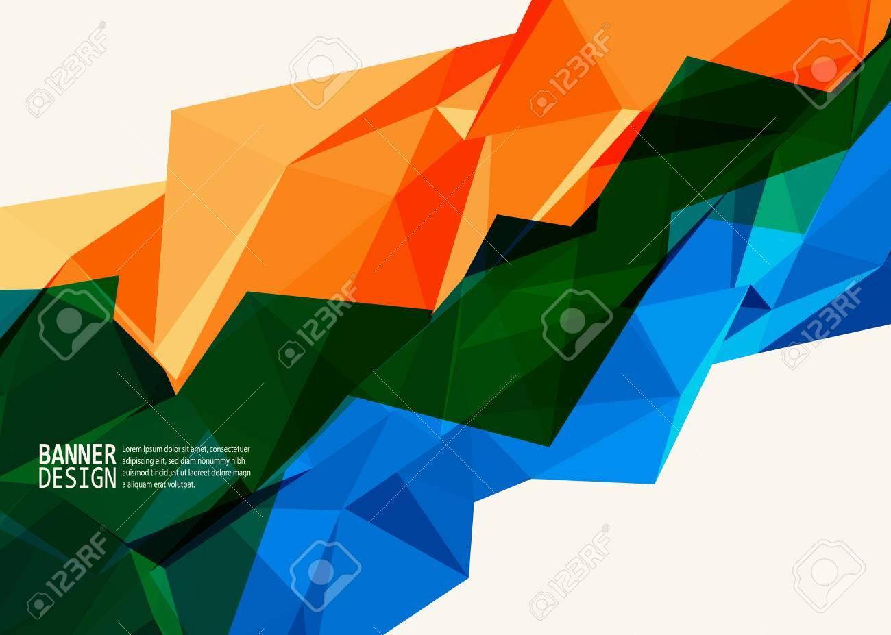 Vector Blue Orange Color Triangle Design Templates Brochures,