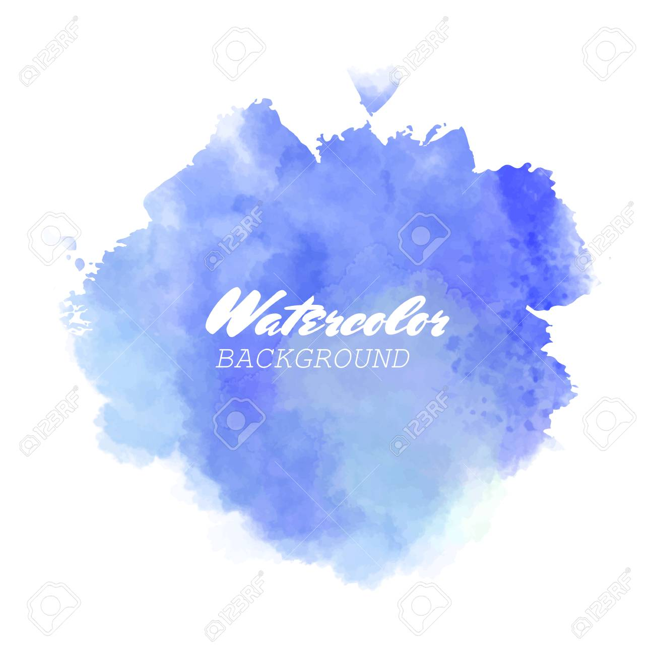 Blue watercolor hand drawn isolated wash spot on white background