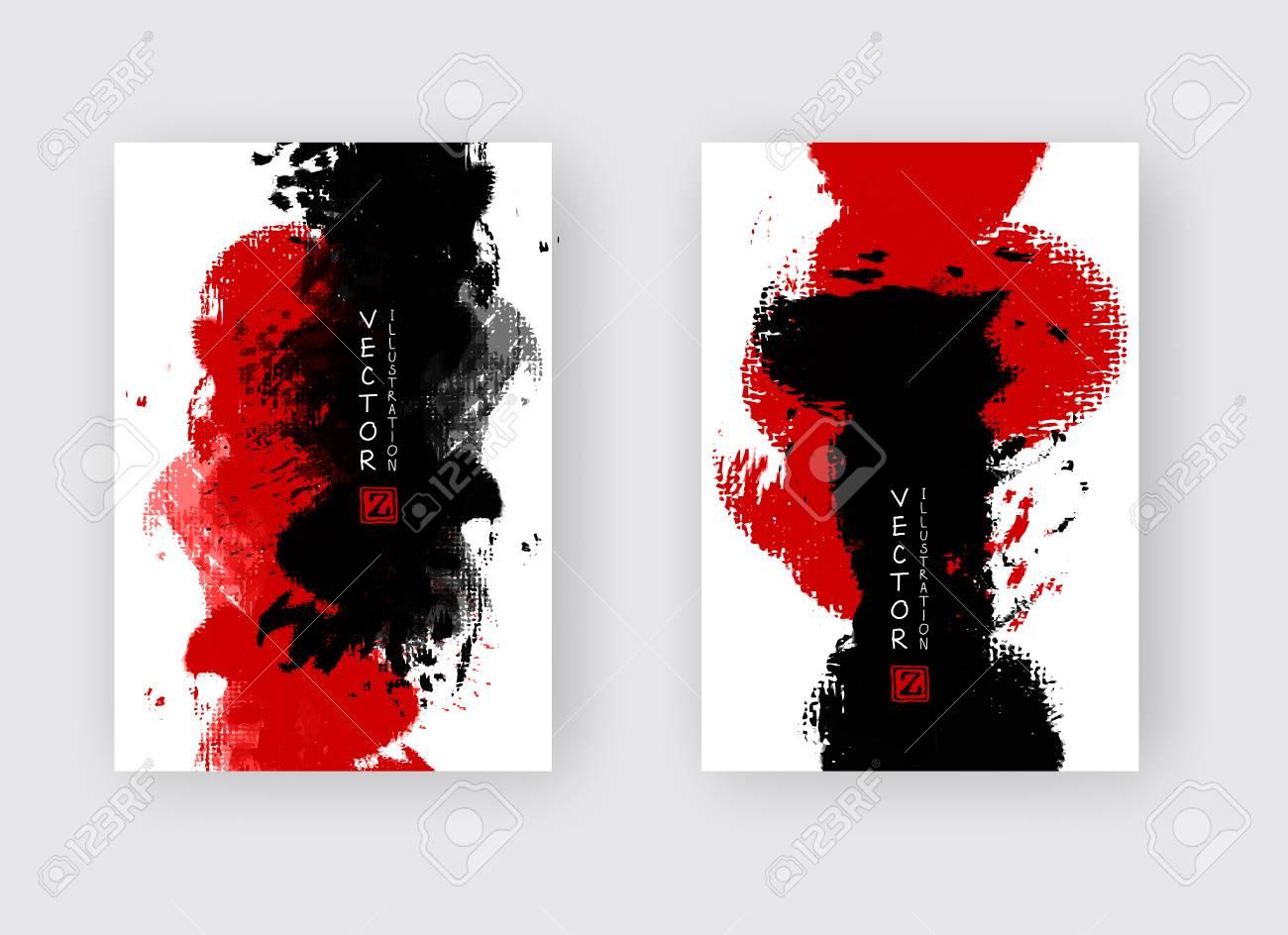 Red Black Ink Brush Stroke On White Background Japanese Style