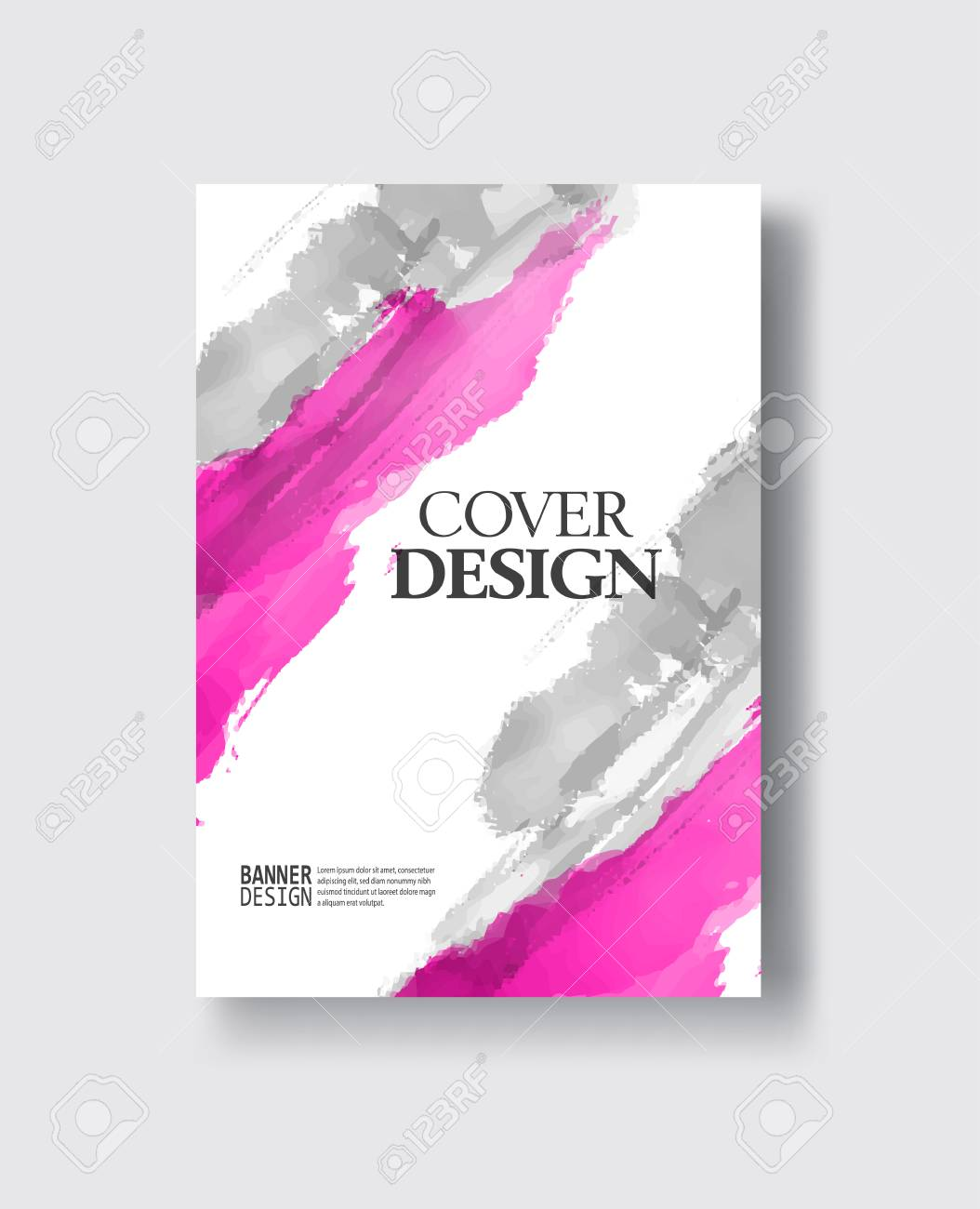 Elegant Brochure Template Design With Ink Brush Elements. Abstract ...