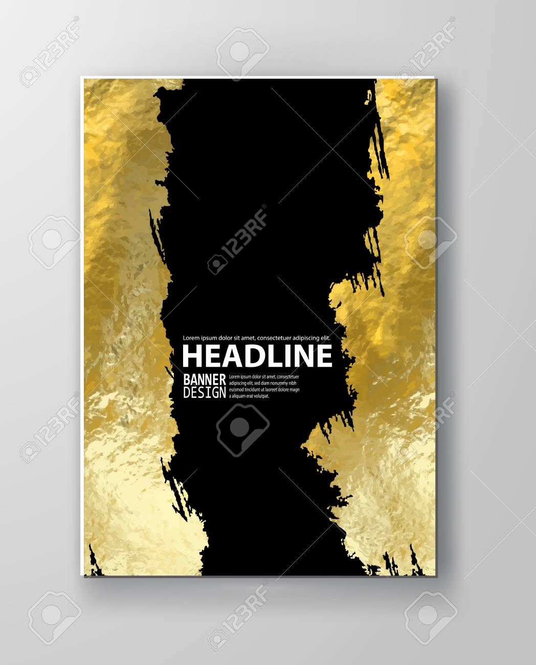 vector black and gold design templates for brochures flyers mobile