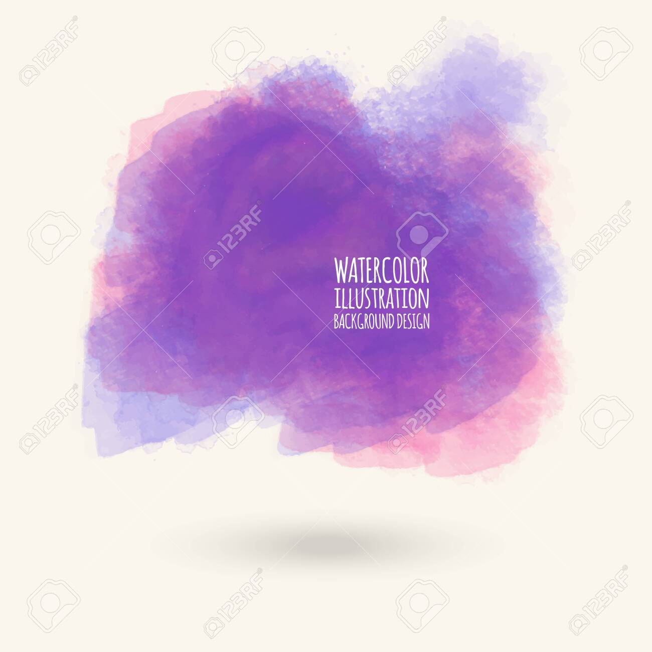 Vector purple color brush strokes  Watercolor Grunge isolated