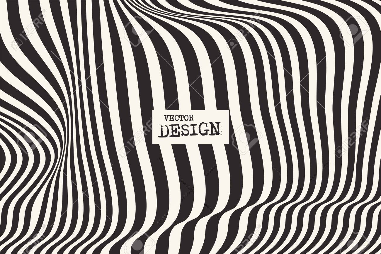 Design monochrome waving lines illusion background. Abstract stripe distortion backdrop. Zebra style decoration. Wallpaper with empty space for your text. Vector illustration - 140974333