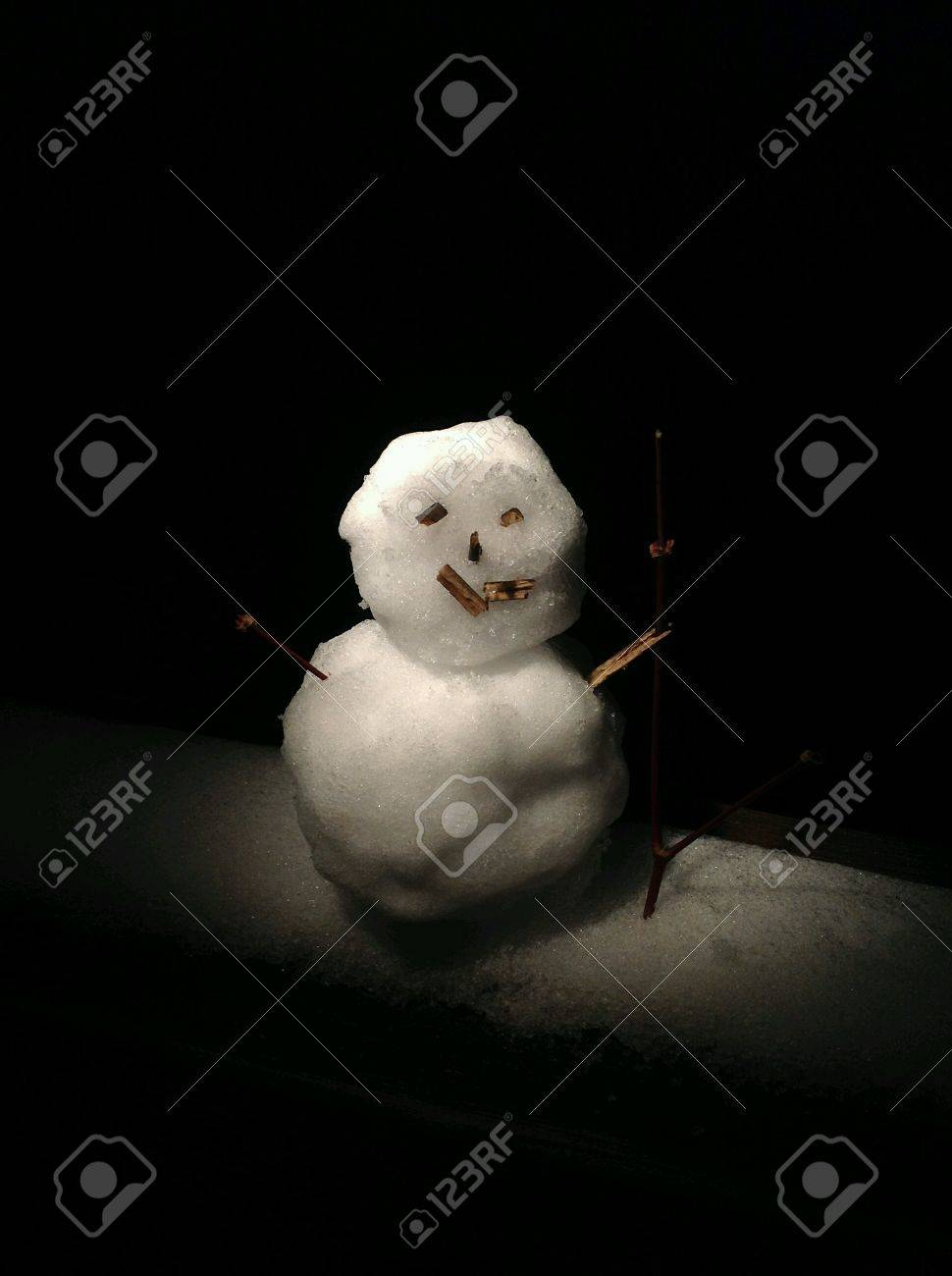 scary snowman in the dark stock photo picture and royalty free