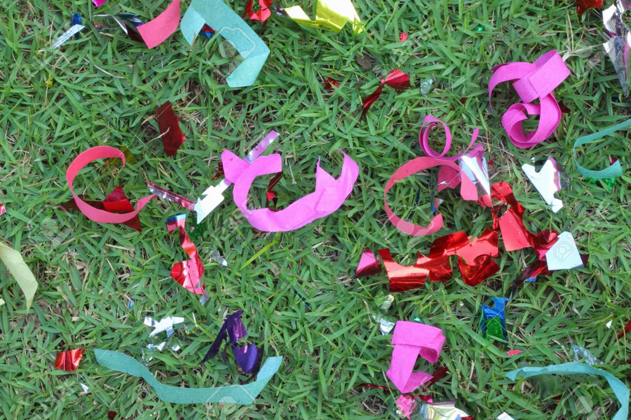 Scrap ribbon on green grass Stock Photo - 16893809