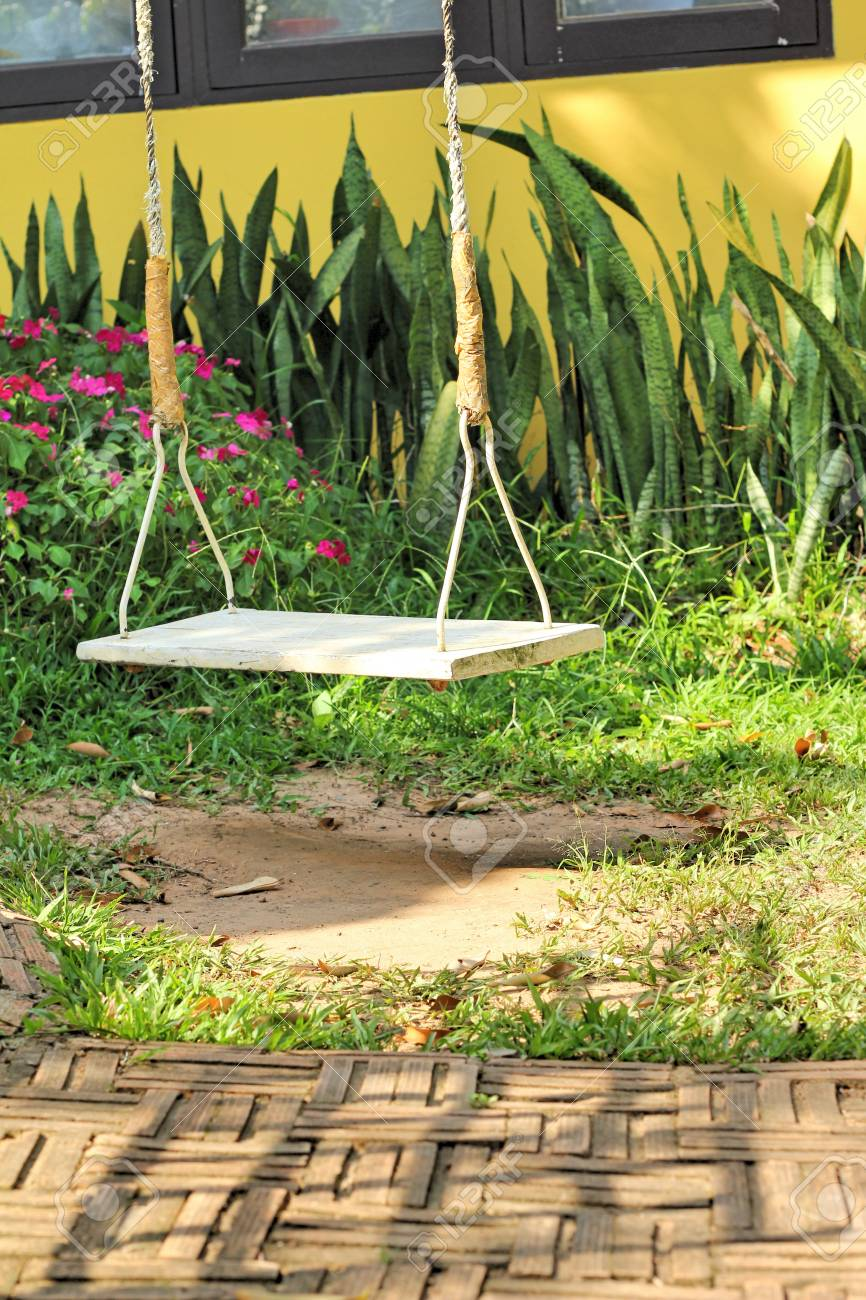 white swing in the nature stock photo picture and royalty free