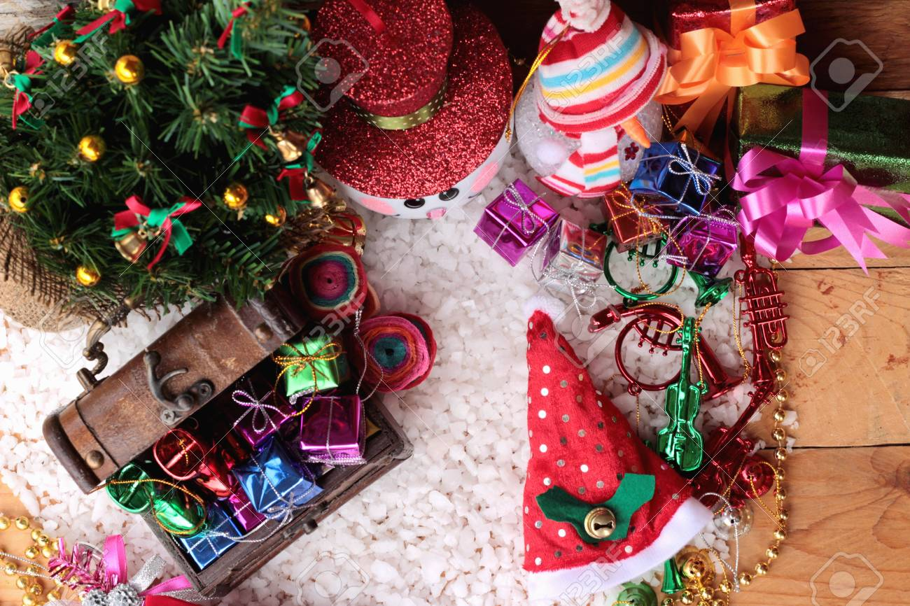 Festival Of Christmas Gifts And Decorations Xmas Day Stock Photo