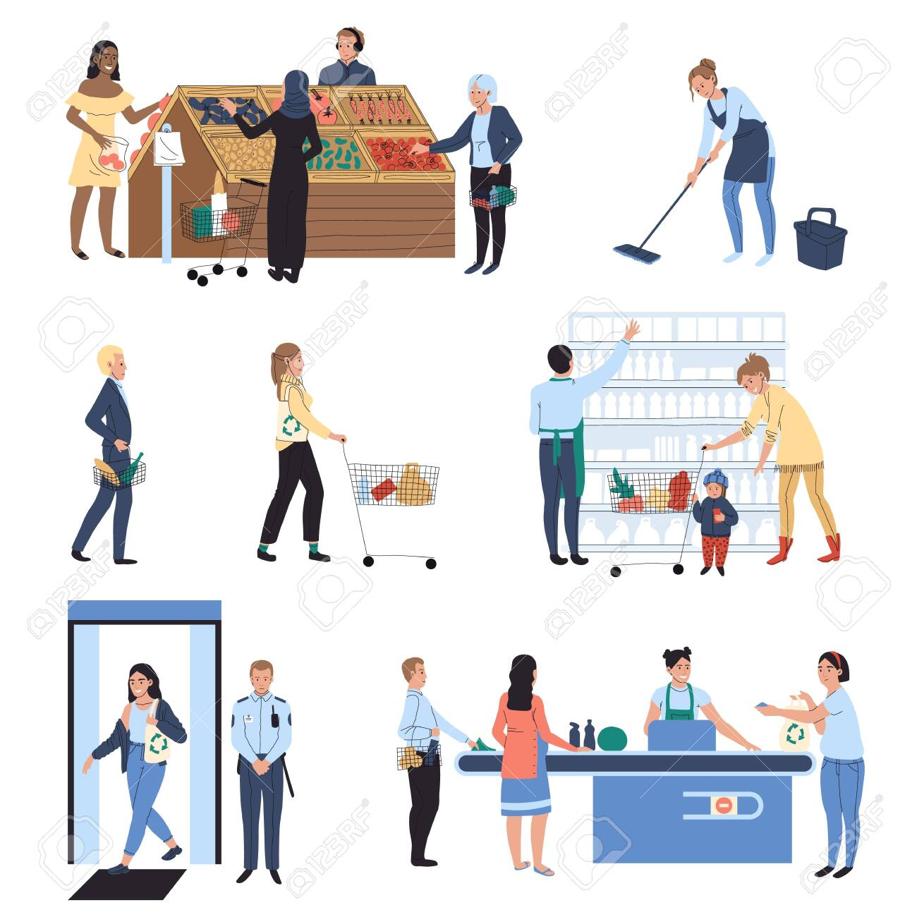 People shopping in supermarket, grocery store vector illustration - 139747940