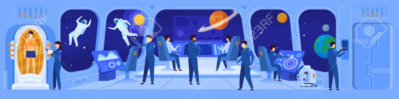 Science fiction spaceship crew on command deck, people vector illustration - 143015798