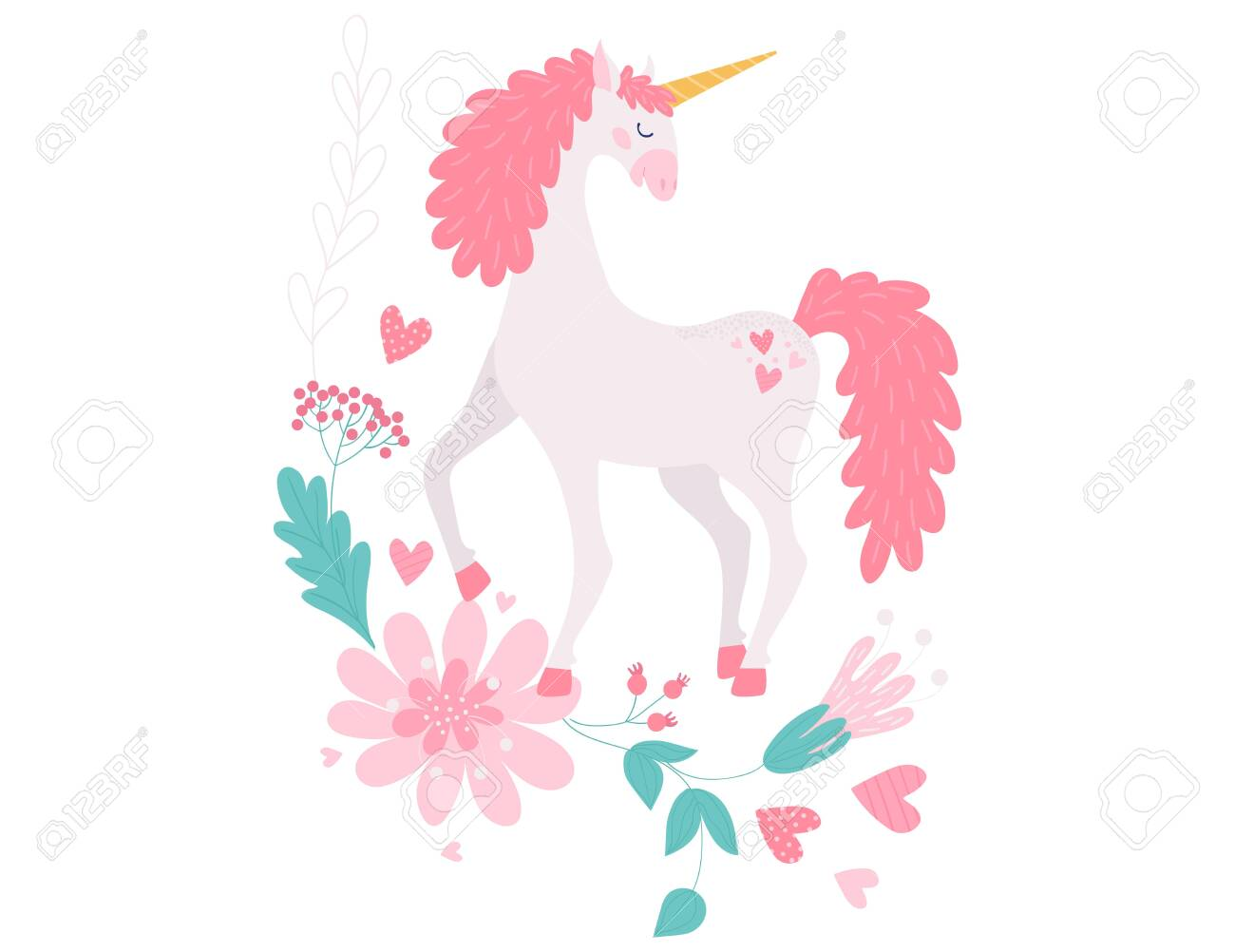 Unicorn Magical Horse Fantasy Animal Vector Illustration Royalty Free Cliparts Vectors And Stock Illustration Image 145720828
