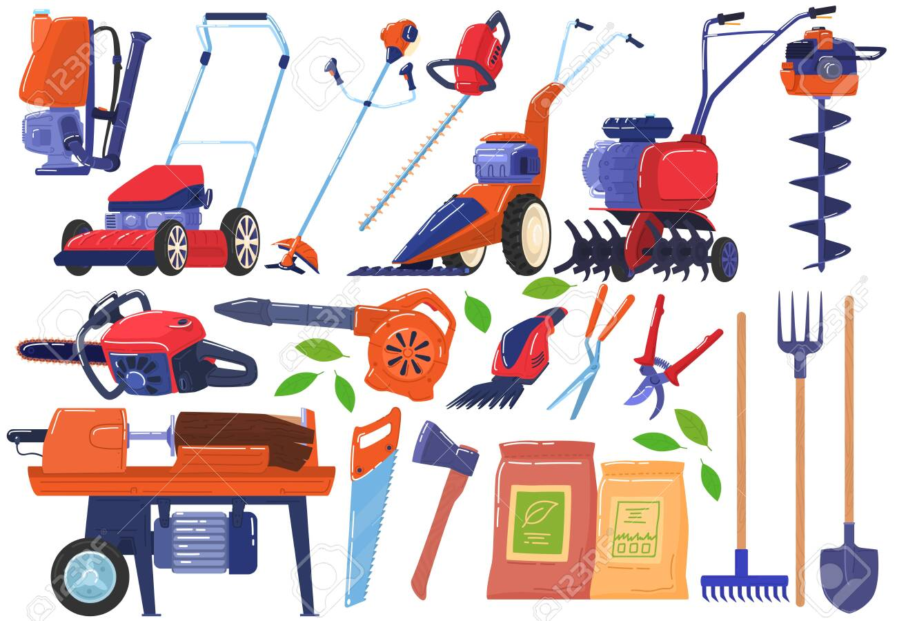 Garden and farm tools, instruments icon collection isolated on white vector illustration. - 146840271
