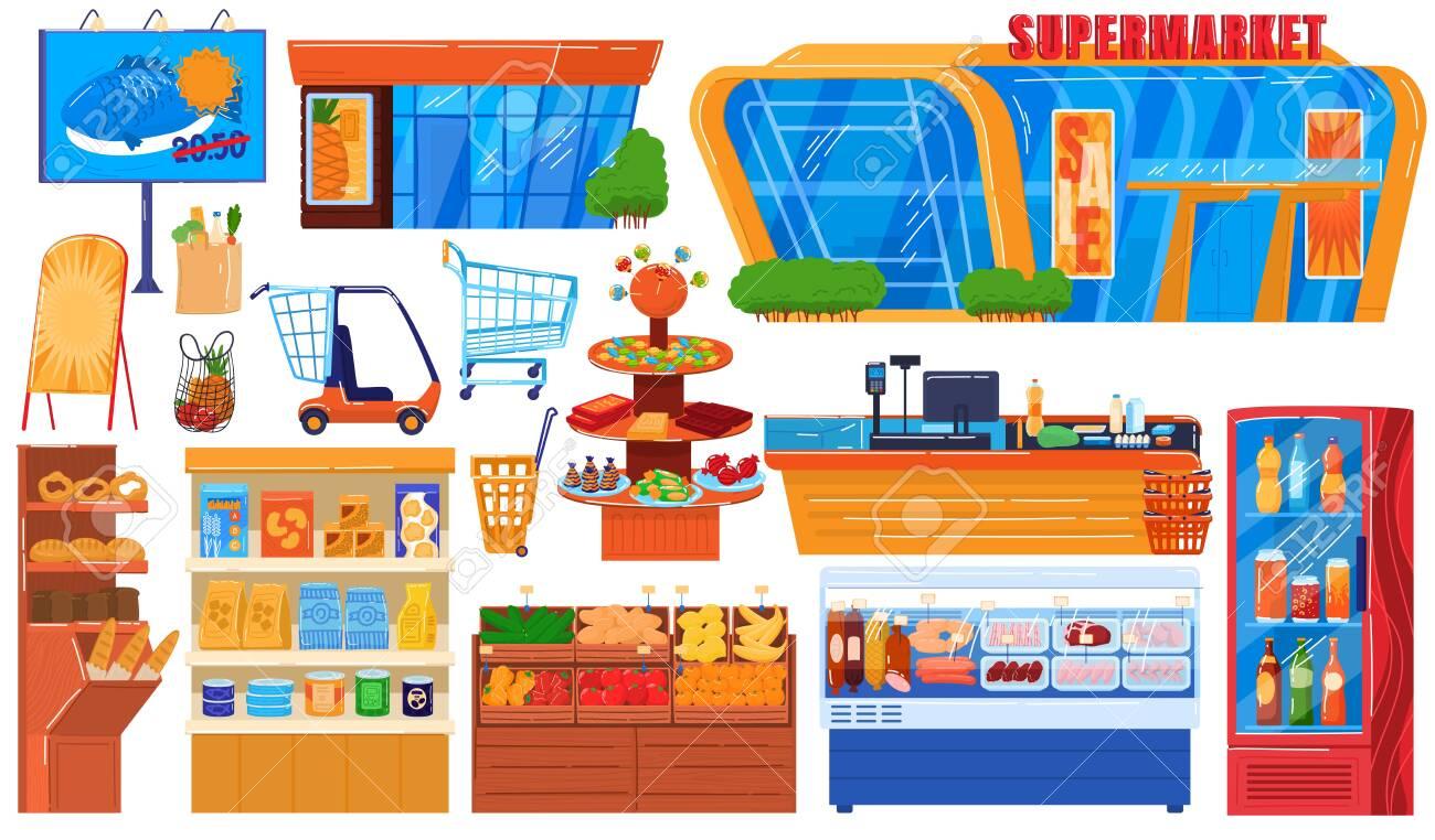 Supermarket grocery store vector illustration set. Cartoon flat hypermarket collection of storefront building, shop shelf and freezer, fresh drink fridge, food cart trolley or basket isolated on white - 149196650
