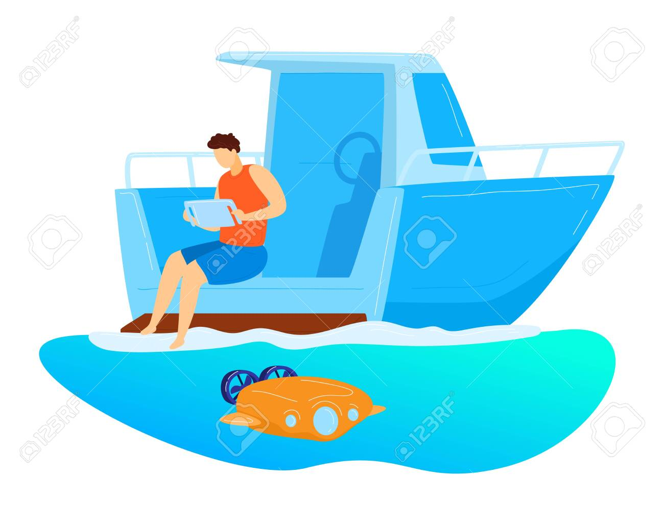 Male sitting yacht, remote control underwater drone, character male research ocean bottom isolated on white, cartoon vector illustration. - 149417125