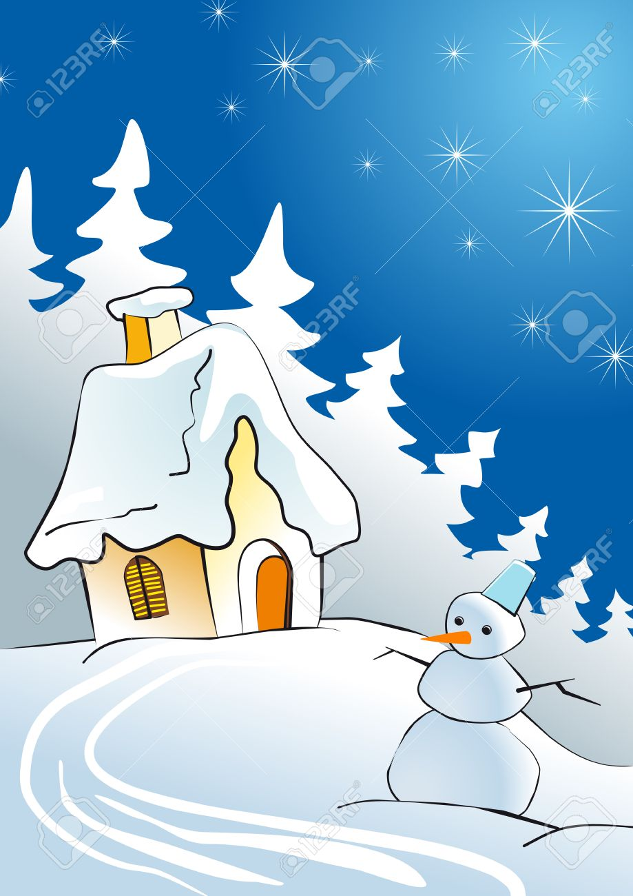 House in winter forest as a concept of Christmas Stock Vector - 5568137