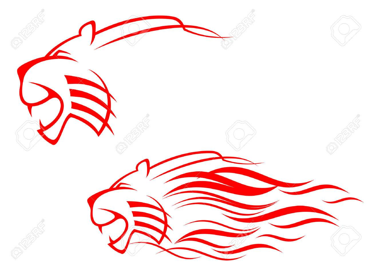 Red tiger sign isolated on white as symbol of danger Stock Vector - 5568132