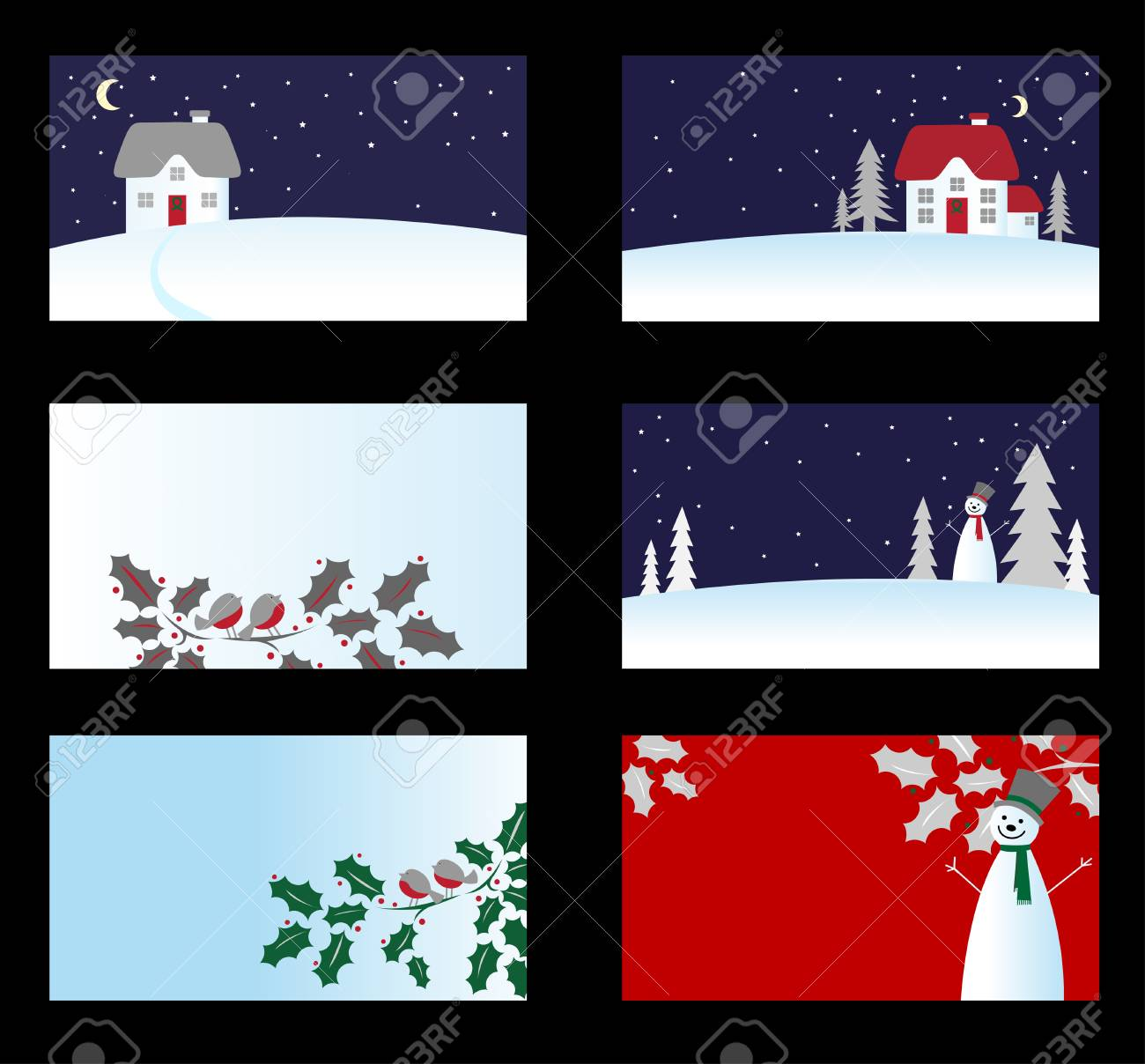 Set of christmas business cards isolated on background Stock Vector - 5690373