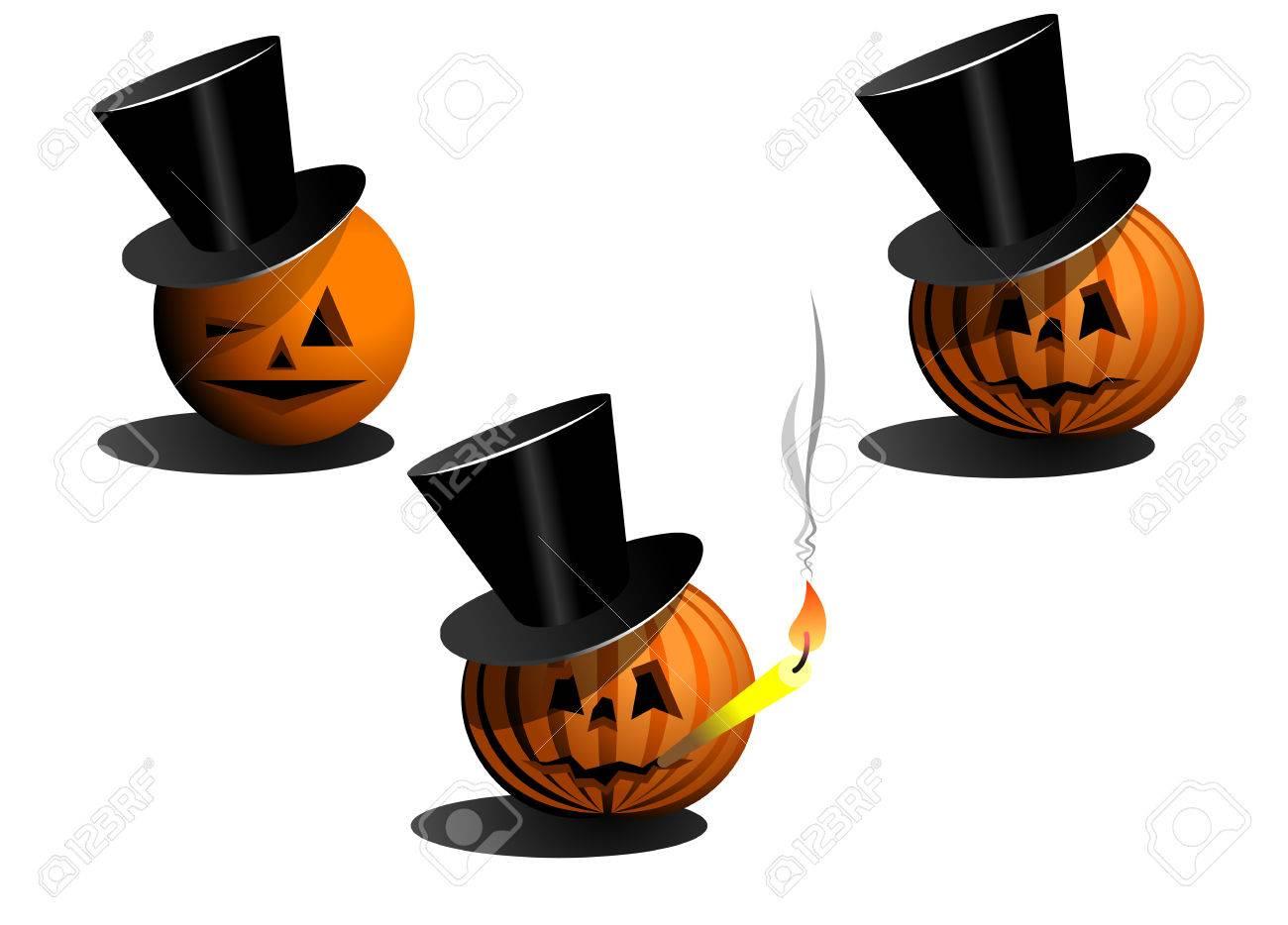 Set of halloween pumpkins in black hats Stock Vector - 5690371
