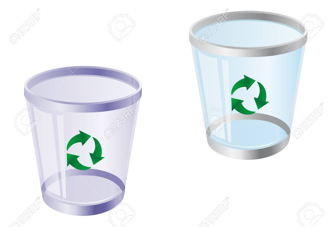 Glossy recycle bin isolated on white for web design Stock Vector - 5790329