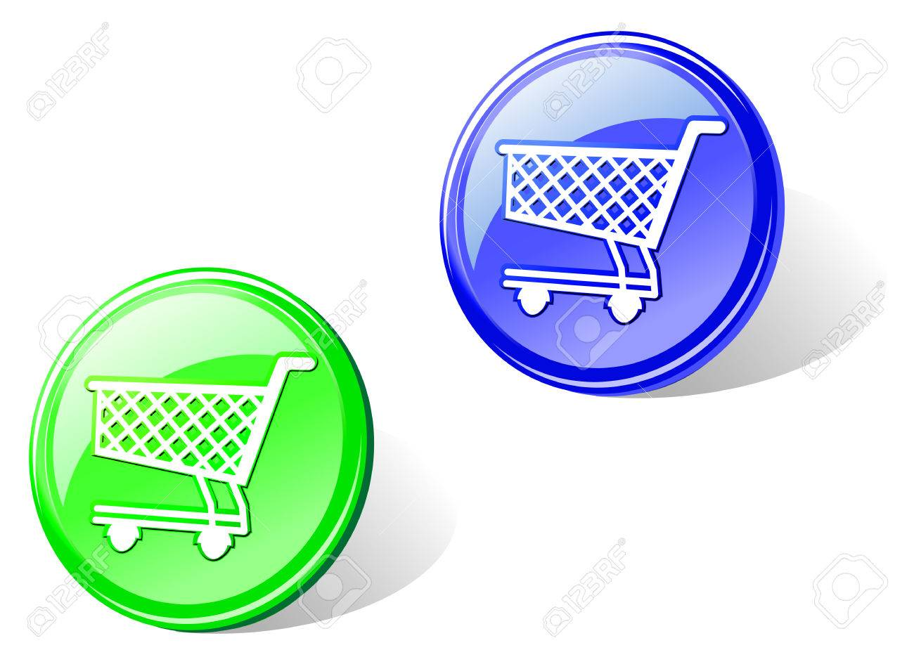 Glossy shopping cart in two colors for web design Stock Vector - 5852905