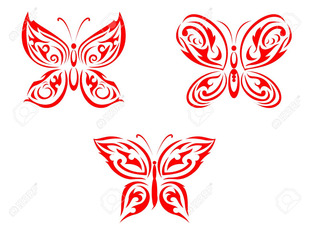 Isolated tattoos of butterfly on white background Stock Vector - 5962183