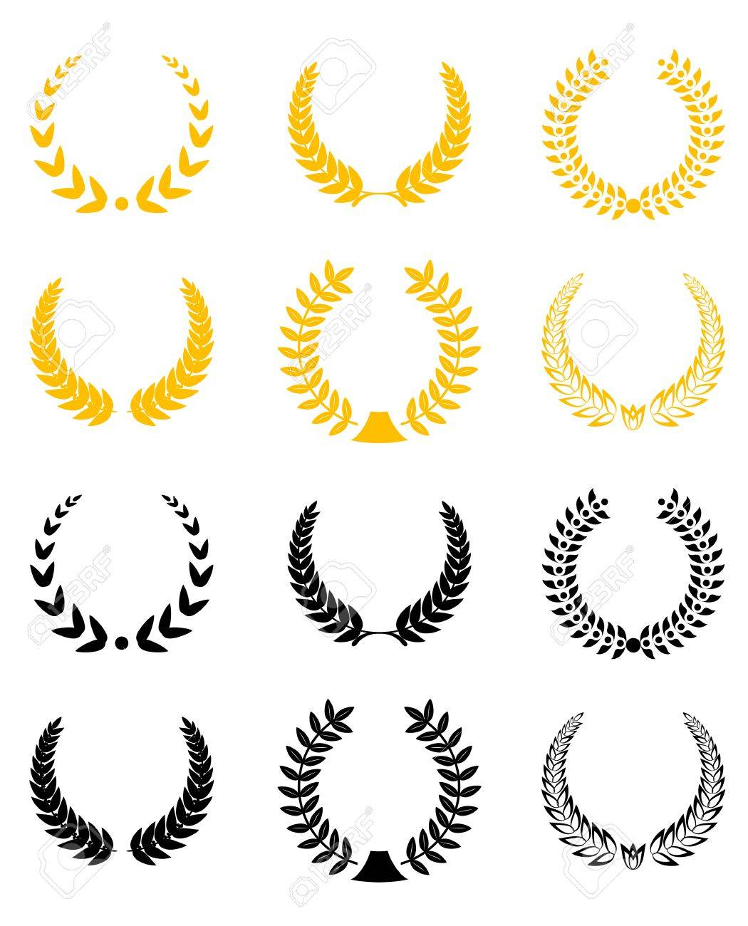 Set of gold and black laurel wreaths Stock Vector - 6147744